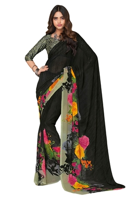 Women's Black & Grey Georgette Printed Saree with Blouse Piece