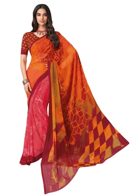Women's Orange & Maroon Georgette Printed Saree with Blouse Piece