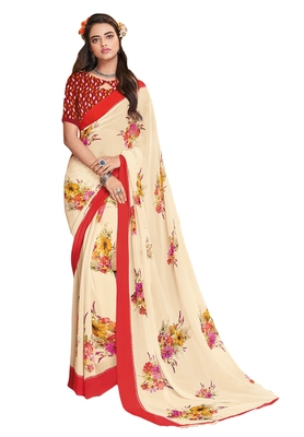 Women's Cream & Red Georgette Printed Saree with Blouse Piece