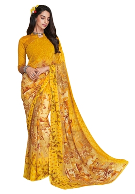 Women's Yellow & Beige Georgette Printed Saree with Blouse Piece