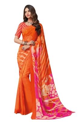 Women's Orange & Pink Georgette Printed Saree With Blouse Piece