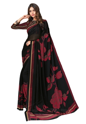Women's Black & Maroon Georgette Printed Saree with Blouse Piece
