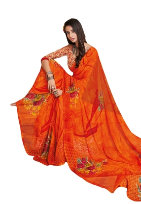 Women's Orange Georgette Printed Saree With Blouse Piece