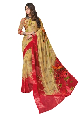 Women's Beige & Red Georgette Printed Saree with Blouse Piece