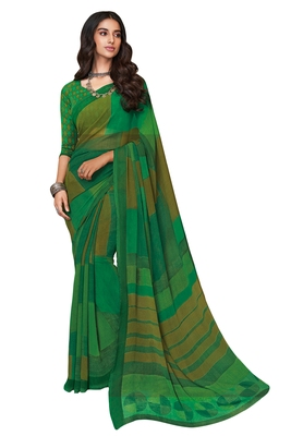 Women's Green Georgette Printed Saree with Blouse Piece