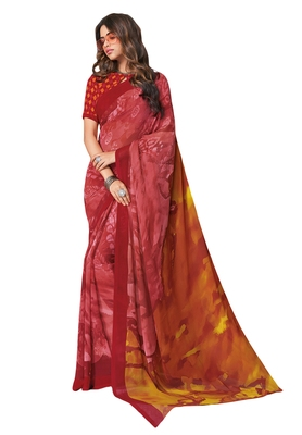 Women's Maroon & Pink Georgette Printed Saree with Blouse Piece