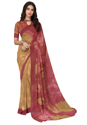 Women's Beige & Pink Georgette Printed Saree with Blouse Piece