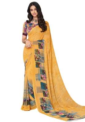 Women's Yellow & Blue Georgette Printed Saree with Blouse Piece
