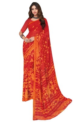 Women's Red & Orange Georgette Printed Saree with Blouse Piece
