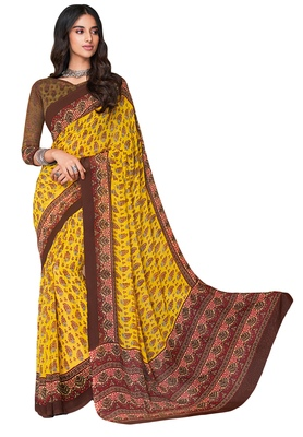 Women's Yellow & Brown Georgette Printed Saree with Blouse Piece