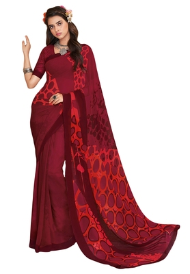 Women's Wine & Red Georgette Printed Saree With Blouse Piece
