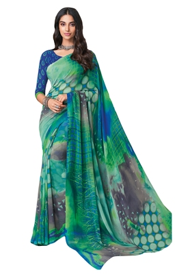 Women's Green & Blue Georgette Printed Saree with Blouse Piece
