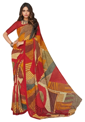 Women's Red & Mustard Georgette Printed Saree with Blouse Piece