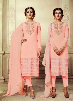 peach embroidered georgette semi stitched salwar with dupatta
