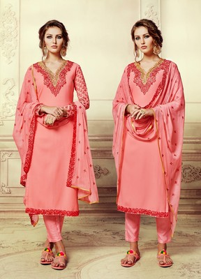 Peach embroidered georgette semi stitched salwar with dupatta