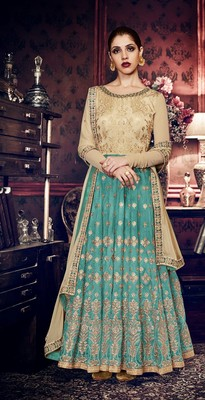 beige embroidered art silk semi stitched salwar with dupatta