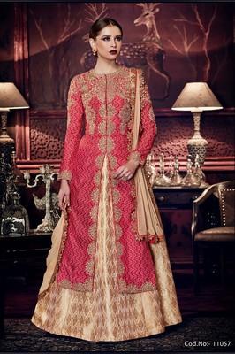 Pink embroidered tussar silk semi stitched salwar with dupatta