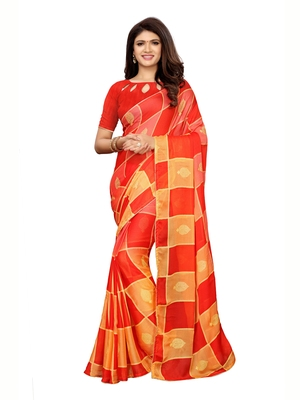 Multicolor printed shimmer saree with blouse