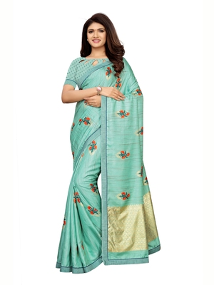Turquoise printed shimmer saree with blouse