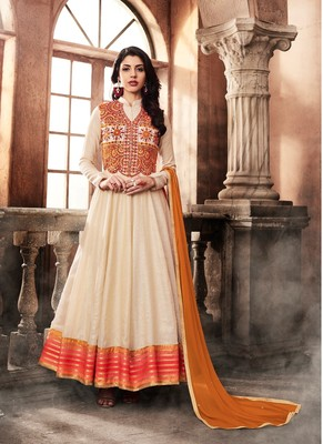 Off White Embroidered Art Silk Semi Stitched Salwar With Dupatta
