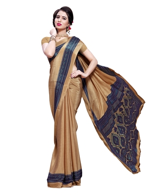 Beige printed crepe saree with blouse