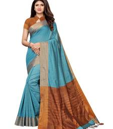 Blue Woven Chanderi Saree With Blouse