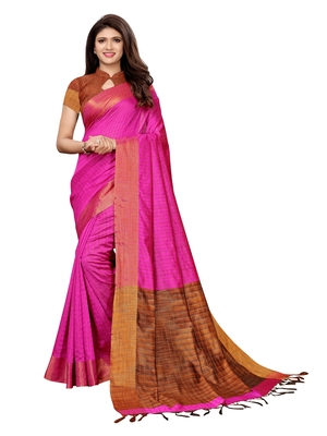 Pink woven chanderi saree with blouse