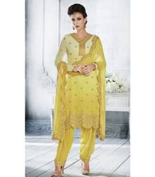 Yellow Embroidered Georgatte Semi Stitched Salwar With Dupatta