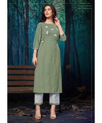 Women's Mint Green Rayon Fancy Designer Kurtis