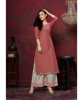 Women's Rust Red Cotton Slub Wonderful Designer Kurtis