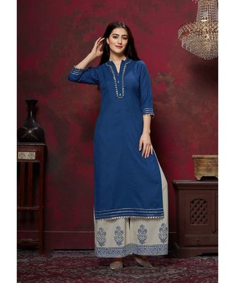 Women's Royal Blue Cotton Slub Graceful Designer Kurtis