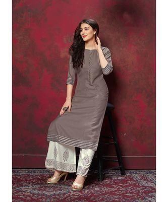 Women's Grey Cotton Slub Amzing Designer Kurtis