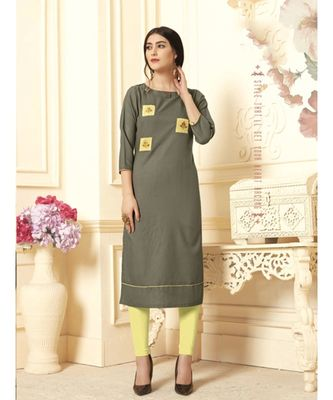 Women's Olive Green Cotton Slub Amzing Designer Kurtis