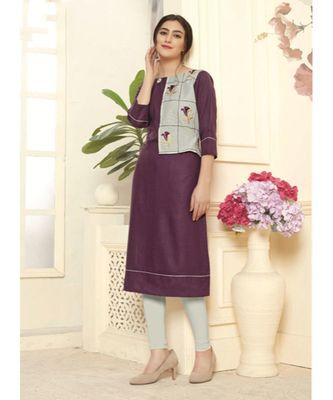 Women's Purple Cotton Slub Fancy Designer Kurtis
