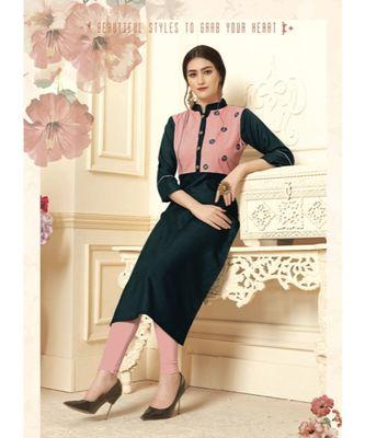 Women's Dark Blue Cotton Slub Preety Designer Kurtis