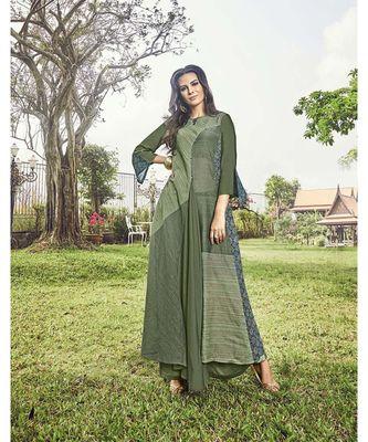 Women's Olive Green Modal Jacquard Dazzling Designer Kurtis