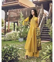 Women's Yellow Modal Jacquard Classy Designer Kurtis