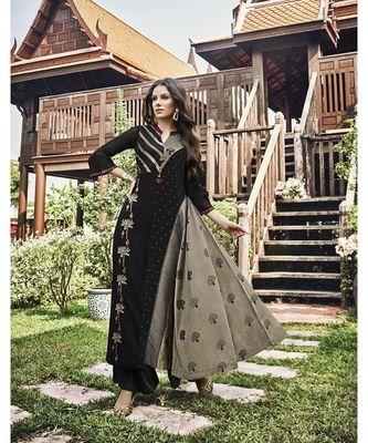 Women's Black & Grey Modal Jacquard Fancy Designer Kurtis