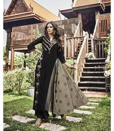 Women's Black & Grey Modal Jacquard Fancy Designer Kurtis