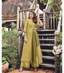 Women's Yellow Modal Jacquard Preety Designer Kurtis
