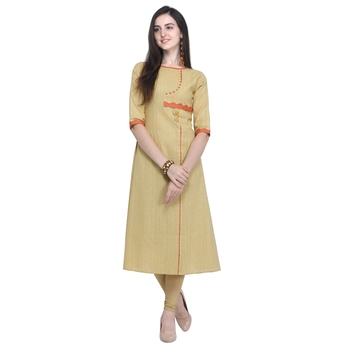 Cream embroidered cotton embroidered-kurtis