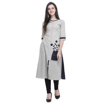 Off white embroidered cotton embroidered-kurtis