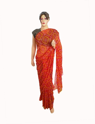 Red Color Printed Georgette Bandhani Sari With Running Blouse