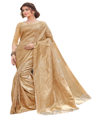 Golden Color Jacquard Silk Printed saree with Blouse