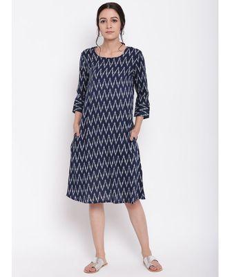 Blue Ikkat Print Cuff Dress