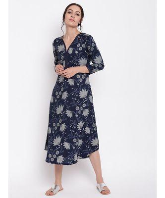 Blue Grey Floral Dress