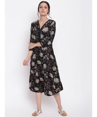 Black Grey Floral Dress