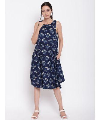 Blue White Floral Dress