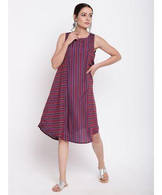 Pink Blue Stripe Kurta Dress