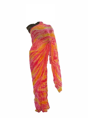 MultiColor Printed Georgette Shibori Leheriya Sari With Running Blouse